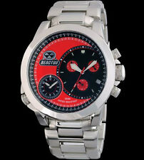 Reactor Mens Watch 85011 Source Red Dial Chronograph Dbl Time Stainless Bracelet