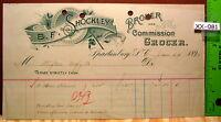 1896 B.F. SHOCKLEY BROCKER GROCER Spartanburg TENN Billhead Bill Head