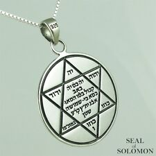 Holy Star of David Kabblah Seal of Solomon Amulet Necklace in Silver 925