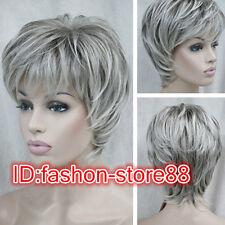 Sexy Fashion Women's ladies short grey mix Natural Hair full wigs + free Wig cap