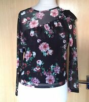 Very Ladies Top Blouse 8 Petite Frill Roses Mesh New with Tags Going Out