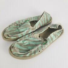 SANUK Donna Palma Womens Size 7 Sidewalk Surfer Shoes Teal Tan Zebra Stripe