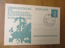 EBS Germany 1942 Postal Card European Youth League P309 Vienna Postmark