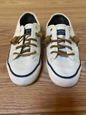 Sperry Women's Top Sider Canvas Tennis Boat Shoes Leather Laces White Size 5