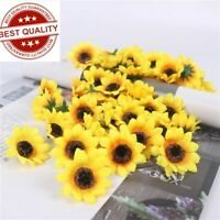 100x Artificial Silk Sunflower Head Decor Wedding Party Home Holding Sunflowers
