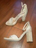 Sam Edelman Yaro Ankle strap Sandal Heeled Oatmeal suede women 9 M