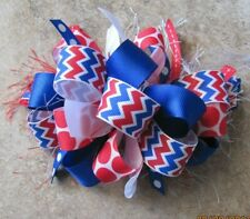 4th of July Red White Blue Chevron with Dots Boutique Hairbow