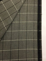 Taylor & Lodge Grey Window Pane Check Super 120s Wool Suit Fabric. (260g)