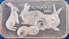 1976 MADISON MINT ~ EASTER 999 SILVER 1 OZ ART BAR ~ BUNNY RABBITS & EASTER EGGS