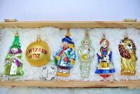 Komozja Polonaise The Wizard of Oz Glass Ornament 5 pc Set Kurt Adler Wood Crate