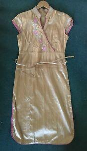 thai silk embroidered cheongsam chinese dress UK 10 gold pink piping high split