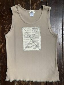 Vtg 90s grunge Kate cotton  Green Army Novelty French RILEY  Top T-shirt Vest S