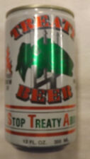 Vintage Treaty Stop Treaty Abuse Salmon Beer Can Steel abc