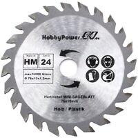 HM Kreissägeblatt Ø 76x10 mm 24 Zähne für Mini Handkreissäge Tauchsäge Neu
