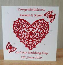 Handmade Personalised Wedding Card With Heart Theme