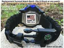 Black Adjustable Paracord Survival Bracelet Watch Band for Casio G Shock - USA