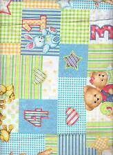"""Blue Jean Teddy Bear Fabric Cotton Quilt 32"""" remnant piece patch stars sheep"""