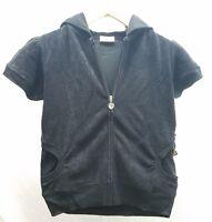 Elan Womens Terry Cloth Short Sleeve Zip Up Hoodie Black Blue Pink White Yellow