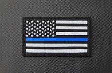 Thin Blue Line US Flag Patch SOLAS Reflective & Black Police SWAT SERT Gang Team