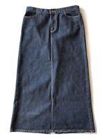 Vtg Gap Long Stretch Denim Jean Skirt Womens Size 10 Boho Hippie Modest Maxi VGC