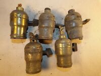 Lot of Vintage Union Electric Lamp Fatboy Brass Turn Socket For Parts Restore
