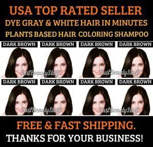 DARK BROWN HERBAL HAIR DYE SHAMPOO COLOR GRAY&WHITE HAIR IN MINUTES WOMEN&MEN