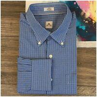 PETER MILLAR Mens Shirt L Large Button Down Long Sleeve Plaid Casual Dress