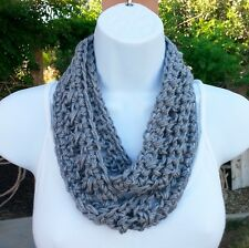 Gray Skinny SUMMER SCARF Infinity Loop Small Narrow Solid Grey Handmade Crochet
