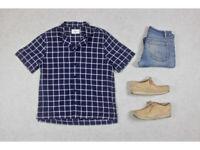Folk - Panama Shirt - Navy Blue/White Check - 5/Extra Large