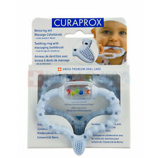 CURAPROX CURABABY Teething Ring Baby Toothbrush Rattle Teether BLUE