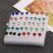 20 PAIRS WOMEN ALLERGY EAR STUDS CRYSTAL RHINESTONE EARRINGS MULTI-COLOR UK
