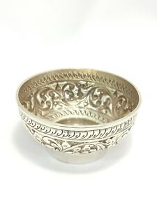 Handmade Dish Bowl 925 Sterling Solid Silver Indian Traditional Hand Engraved D
