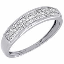 Diamond Wedding Band Mens 10K White Gold Round Cut Engagement Ring 0.15 Ct