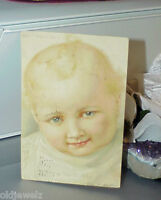 """Postcard """"Waiting for Daddy"""" Baby's Habits Series No. 5 Baby Smiles German Used"""