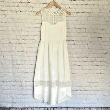 MOON RIVER Size XS Sleeveless White Lace Midi Dress