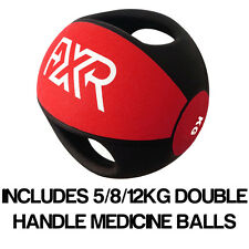 FXR SPORTS RUBBER PROFESSIONAL DOUBLE HANDLE RED MEDICINE BALL 5/8/12KG SET