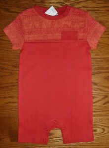 BNWT, Aztec Panel, Romper, Playsuit, All-in-One, Red, Size 000, 0-3 Months