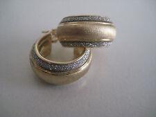 Pendientes de Oro Amarillo 9 Quilates Purpurina Polvo lunar Diamante Triple