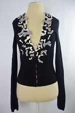 Knitted & Knotted Black Bow Embellished Wool Blend Cardigan Sweater Size S
