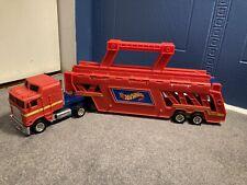 Vintage 1986 Mattel Hot Wheels Red Semi-Truck Car Carrier Transporter Very Clean