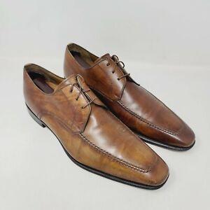 Magnanni Mens Oxfords Brown Lace Up Apron Toe Dress Shoes 13723 Size 9.5M
