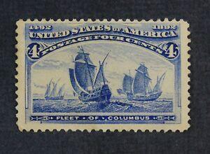 CKStamps: US Stamps Collection Scott#233 4c Columbian Mint H OG Gum Bend