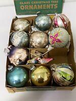 Vintage Mercury Glass Christmas Tree Ornaments JUMBO Shiny Brite Romanian