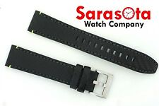 Original Seiko Calf Leather Black Carbon Watch Band 20/18mm Buckle