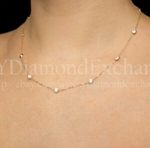 """3CT Created Diamond By The Yard Station Necklace 14k Yellow Gold Bezel Chain 16"""""""