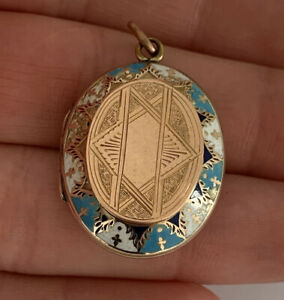 9ct Rose Gold Back & Front Victorian Enamelled Heavy Locket Pendant, 9k (8.1g)