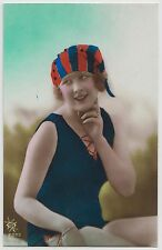 FRENCH POSTCARD - pretty art deco glamour girl in bathing suit, vivid colours RP