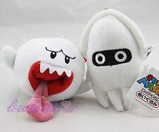 New 2pcs White Super Mario Bros Boo Ghost Blooper Stuffed Plush Toy Rare