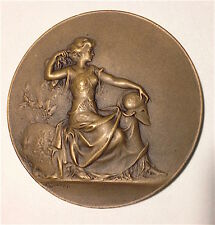 Old ART NOUVEAU Antique Bronze Round MEDAL EDUCATIONAL AWARD by L COUDRAY French