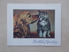 VINTAGE 1950's BIRTHDAY CARD - WITH LOTS OF LOVE ON YOUR BIRTHDAY - CAT AND DOG